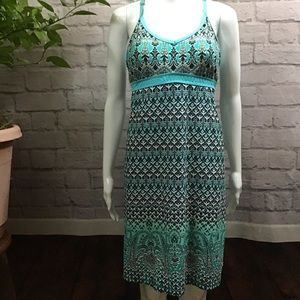 🍃 Athleta blue & white sleeveless medium dress